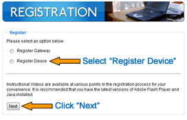 "Choose ""Register Device"" and Click ""Next"""